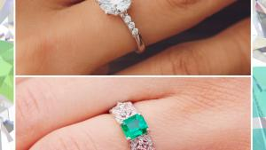 diamond and emerald engagement rings