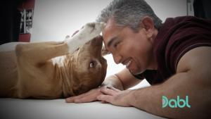 Close-up of Cesar and pit bull