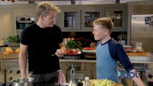 Gordon cooking with son Jack